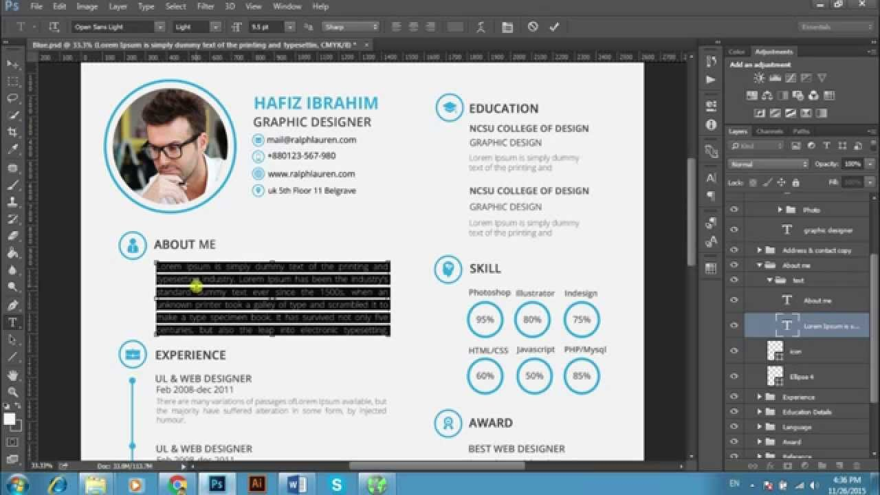 Edit Resume Resume Edit And Photo Change Psd And Ms Word