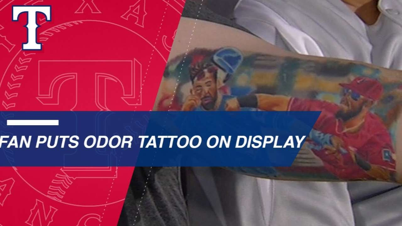 Rangers Fan Shows Off His Rougned Odor Tattoo Youtube