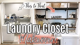SMALL LAUNDRY ROOM MAKEOVER 2020 :: FARMHOUSE MAKEOVER | EPISODE 2 :: AFFORDABLE LAUNDRY ORGANIZING