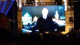 Смотреть видео Новогоднее поздравление В.В Путина с Новым 2020 годом. Санкт- Петербург.Дворцовая площадь. онлайн