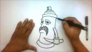 How to draw a  graffiti cholo Spray Can - Gangsta