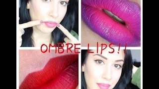 Ombre Lip Tutorial: 4 Different Ways ♥ Nude, Pink, Purple, Red ♥