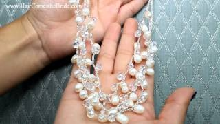 Pearl and Crystal Necklace  by Hair Comes the Bride