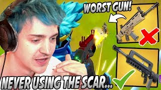 Ninja Explains Why The SCAR Is The WORST Gun In Fortnite & Why The BURST Is BETTER!
