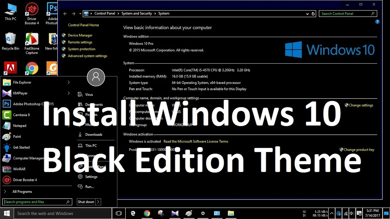 How To Install Windows 10 Black Edition Theme 2017