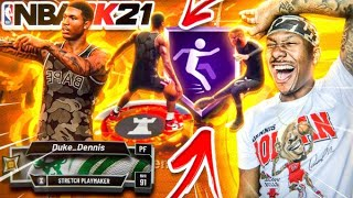 Duke Dennis FIRST GAME With BRAND NEW Stretch Playmaker! FIRST ANKLE BREAKER on 2K21! BEST BUILD!