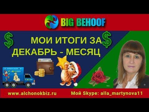 Заработок в Интернете в проекте #BigBehoof  Мои Итоги за Декабрь месяц