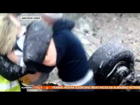 Russian plane crash lands on highway