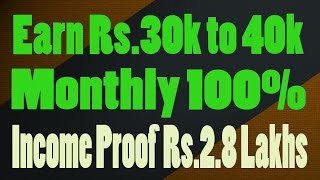 Earn Rs 30k to 40k Monthly without selling or Reffering !! Income Proof Rs 2.8 Lakhs with Vcommision