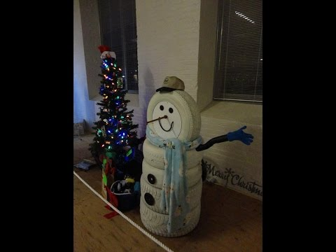Tire snowman raffle youtube for Snowmen made from tires