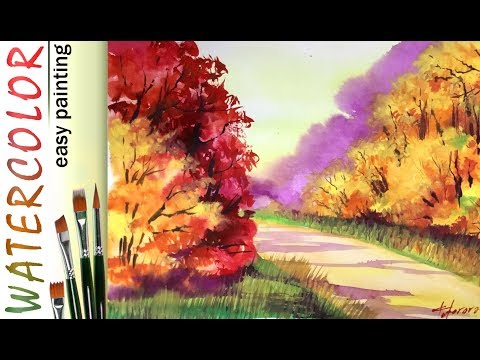 WATERCOLORS. How to paint autumn forest LANDSCAPE. Tree painting tutorial. Art lesson for beginners!