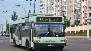 Трасса 56-ого троллейбусного маршрута из БКМ-221 №5389 | Trolley route 56 by BKM-221 5389 window