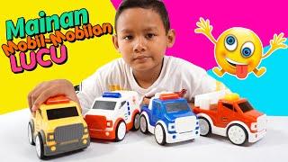 Praya Bermain Mainan Mobil Mobilan Polisi, Ambulan, Pemadam, Dan Mobil Derek Lucu