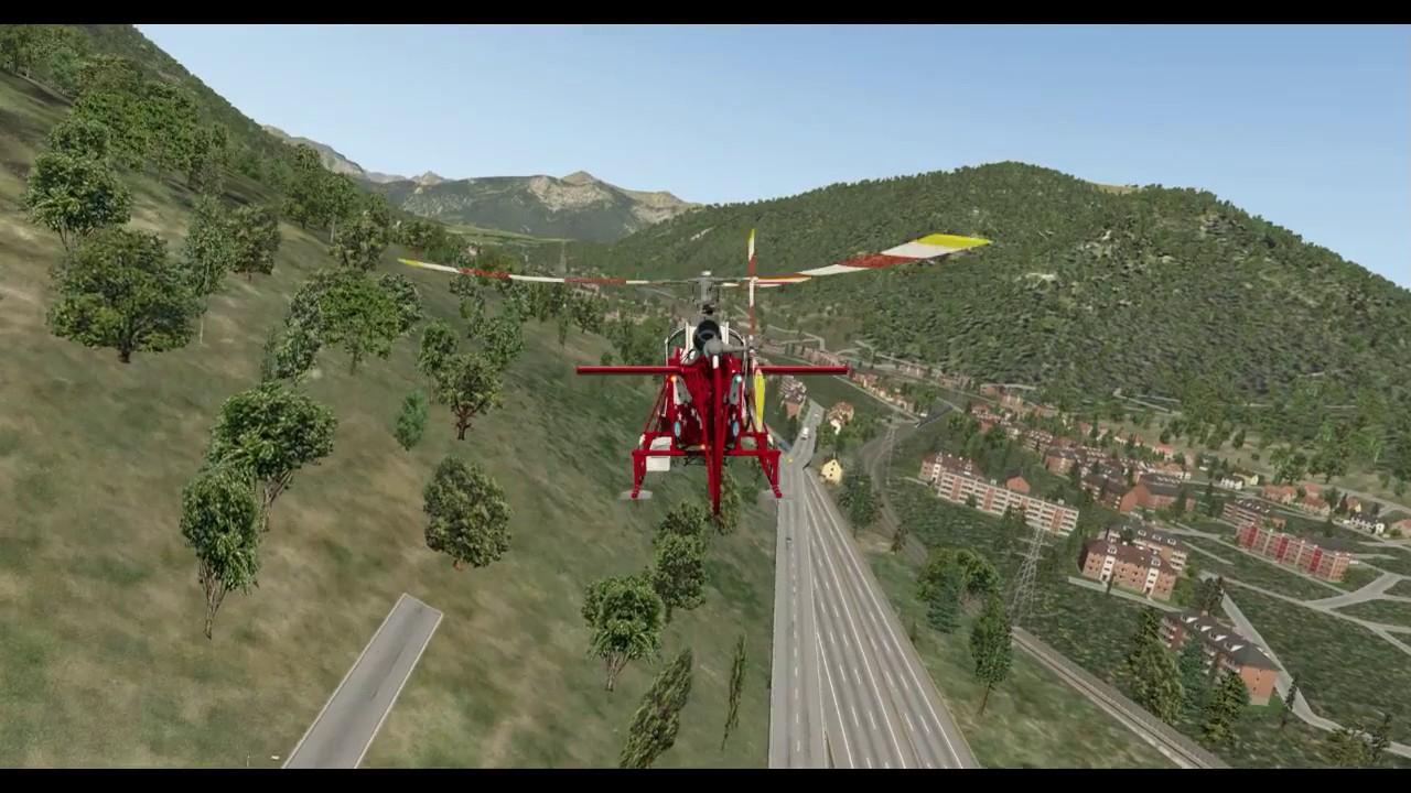 SA315B Lama -- X-Plane 11 Test-Flight A -- Lugano ...