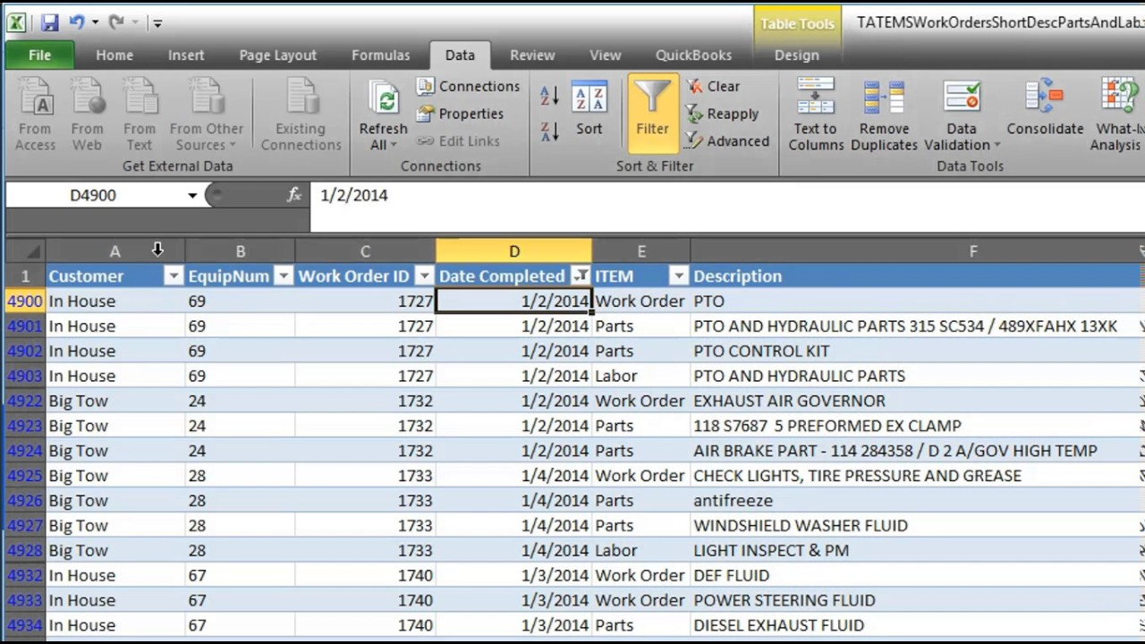 tatems fleet maintenance software import to quickbooks spreadsheet using zed axis