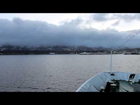 Einfahrt MS Nordnorge in Sandnessjøen