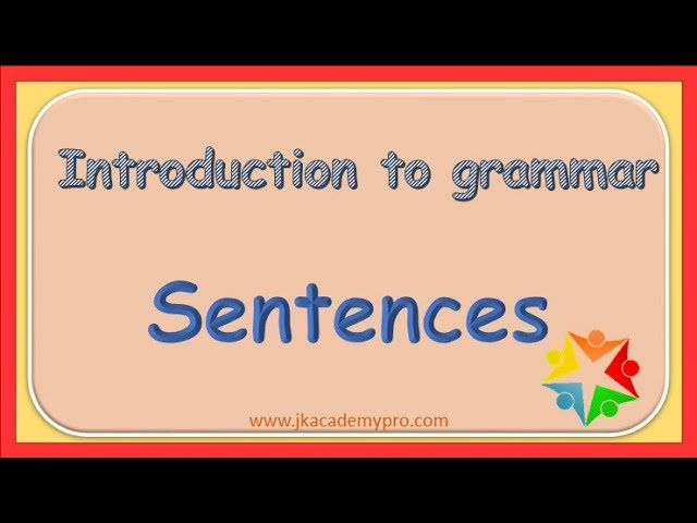 What Is A Sentence, Grade 1 - YouTube