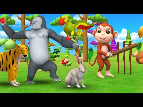 Funny Animals Play Cricket in Forest | Gorilla with Barn Animals Play Cricket Comedy Videos