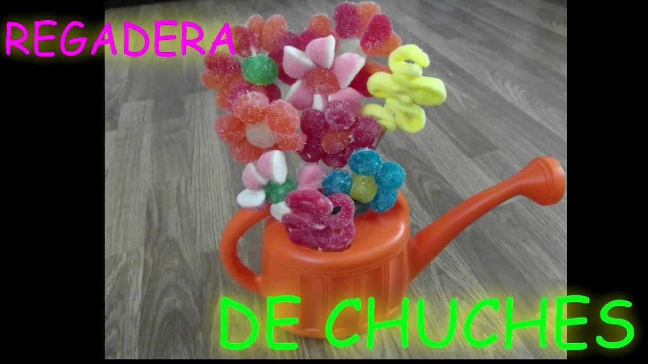Flores de chuches en regadera gominolas dulces paso a paso - Como hacer figuras con chuches ...