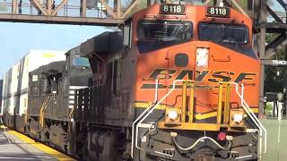 BNSF W/B Stack train going thought Fullerton station with NS units 2017-07-01