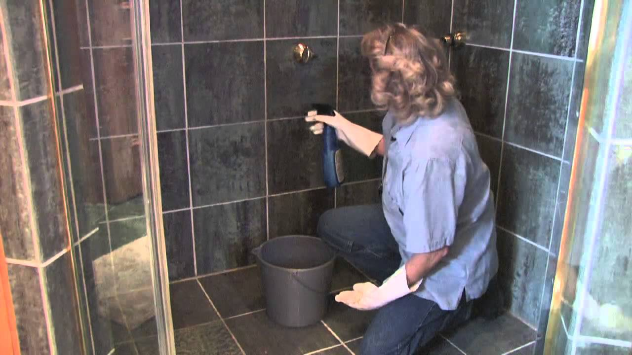 how to clean shower stall tile youtube. Black Bedroom Furniture Sets. Home Design Ideas