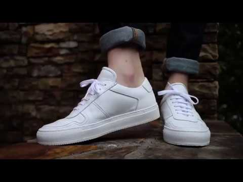 B-BALL LOW LEATHER white on feet - YouTube