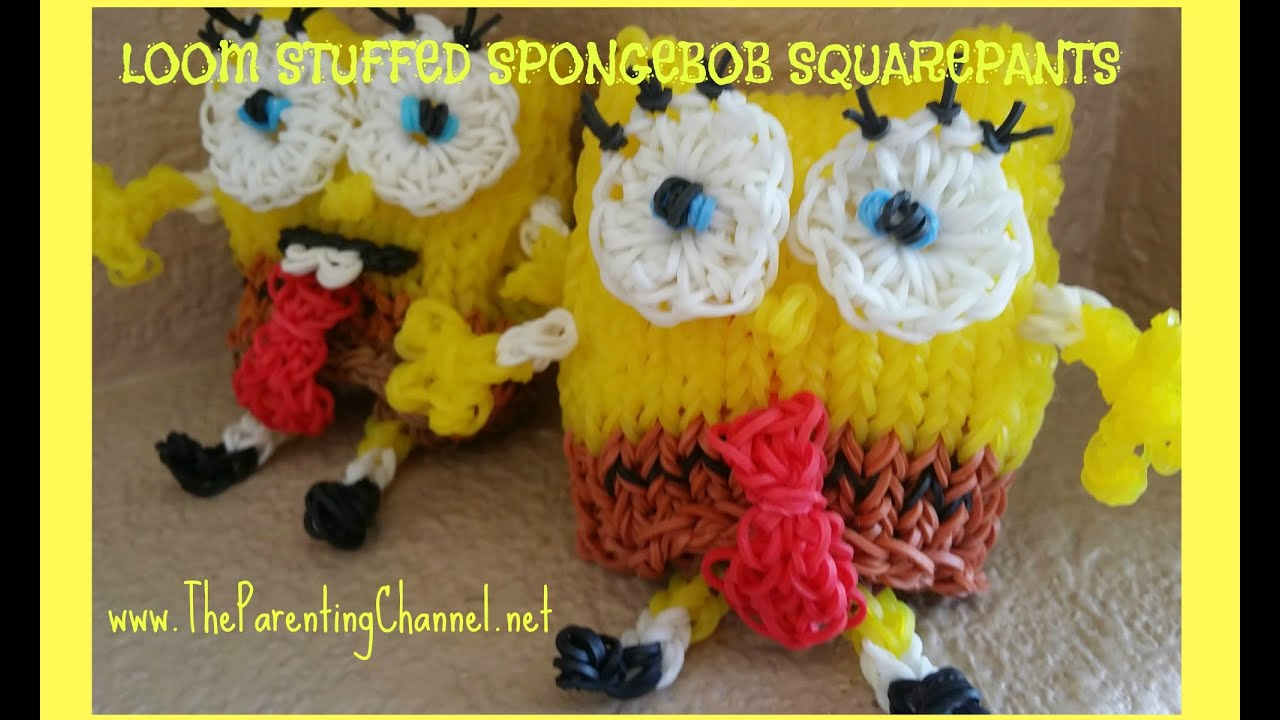 "Super RAINBOW LOOM SPONGEBOB ""Stuffed Animal"" How to Make Amigurumi  RC23"