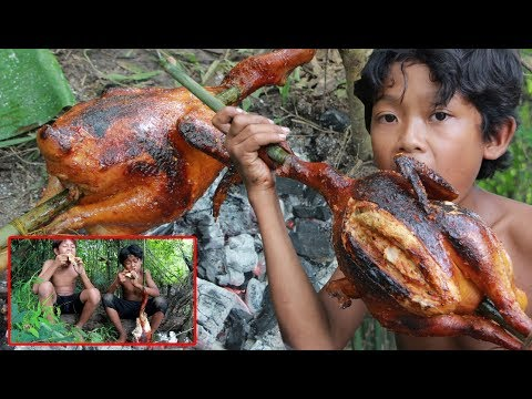Primitive Technology - Cooking chicken and eating delicious