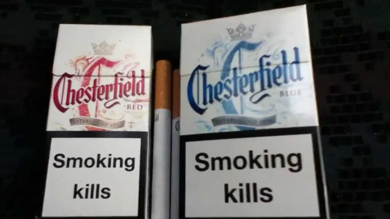 Chesterfield Red and Blue side by side cigarette packs ...