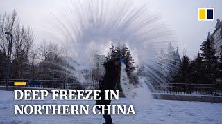 Falling temperatures turn north China outdoors into natural deep freeze