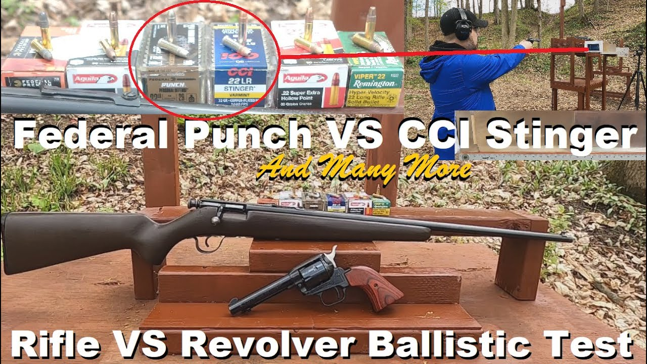 .22 LR - Federal Punch VS CCI Stinger (and MANY More Tested) Rifle VS Revolver Ballistic Test