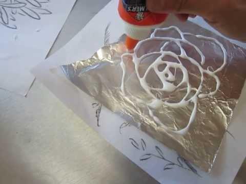 textured tin foil art classplan dried liquid glue on alumnimium foil 01 youtube