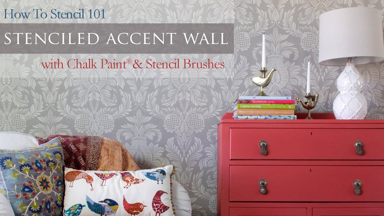 How to stencil 101 painting an accent wall with wall stencils and how to stencil 101 painting an accent wall with wall stencils and chalk paint youtube amipublicfo Gallery