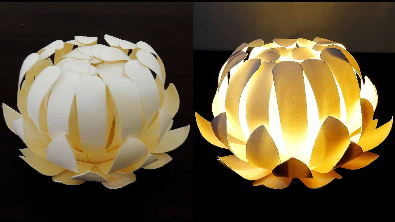 Paper cup flower lamp - how to make a protea lantern from paper ... for Recycled Paper Lamp  557yll