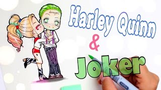 💁🏼How to Draw HARLEY QUINN & JOKER || Chibi Style✍️