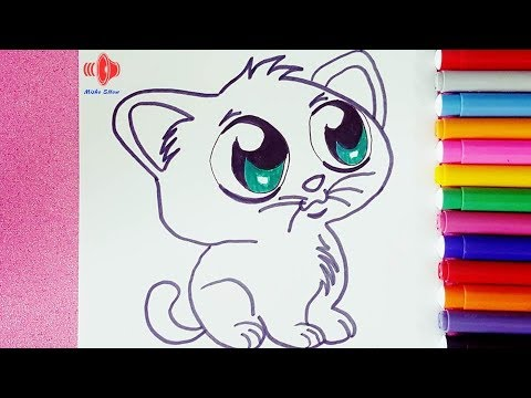 رسم قطة للاطفال كيفية رسم قطة خطوة بخطوة Youtube