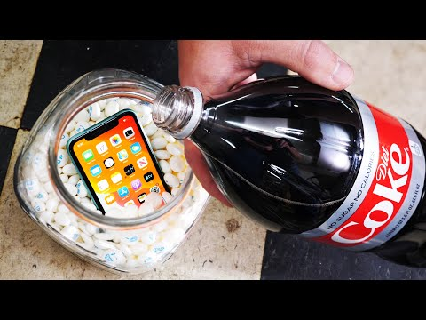 iPhone 11 VS Diet Coke and Mentos! Will the iPhone Survive? Pressurization Test! thumbnail