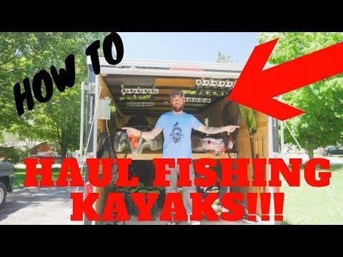 How I haul my Fishing Kayaks- How I use my enclosed trailer