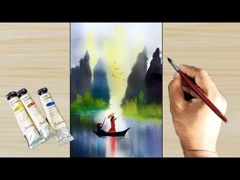 Watercolor painting – How to Draw Chinese Style Landscape Painting for beginners easy and simple |