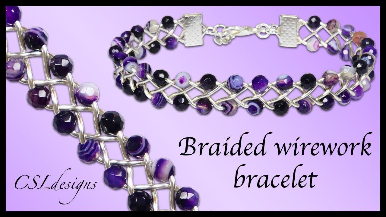 Beaded 4 strand braid wirework bracelet