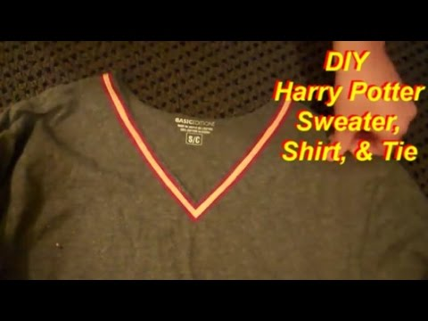 Easy No-Sew Harry Potter Costume Part 1: Sweater, Shirt, & Tie - YouTube