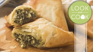 Spinach & cheese filo Recipe - Look and Cook step by step| How to make Spinach & cheese filo