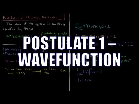 Quantum Chemistry 4.1 - Postulates of Quantum Mechanics 1: Wavefunction