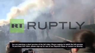 Italy: Left-wingers hold fiery protest in Rome
