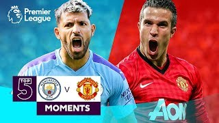 Manchester City v Manchester United | Top 5 Premier League Moments | Aguero, Van Persie, Tevez