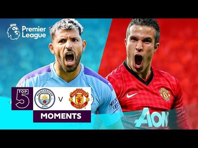 Manchester City v Manchester United | Top 5 Premier League Moments | Aguero, Van Persie, Tevez