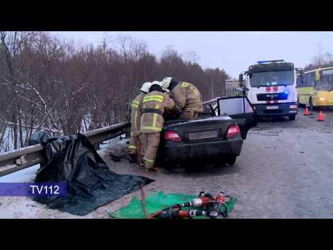 TV112 Лобовое столкновение автобуса и легкового автомобиля на трассе Архангельск   Северодвинск