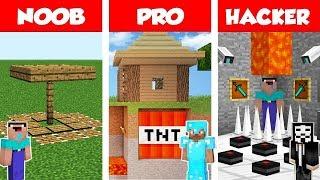 Minecraft NOOB Vs PRO Vs HACKER Secret Trap Base Battle In Minecraft  Animation