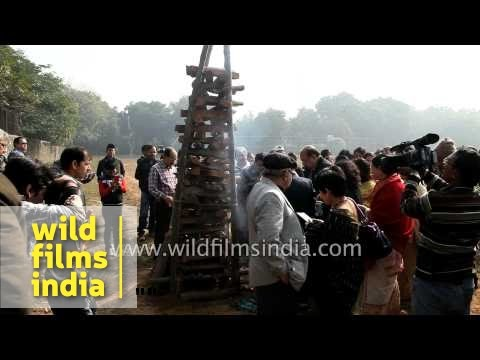 Assamese gather for bonfire to celebrate