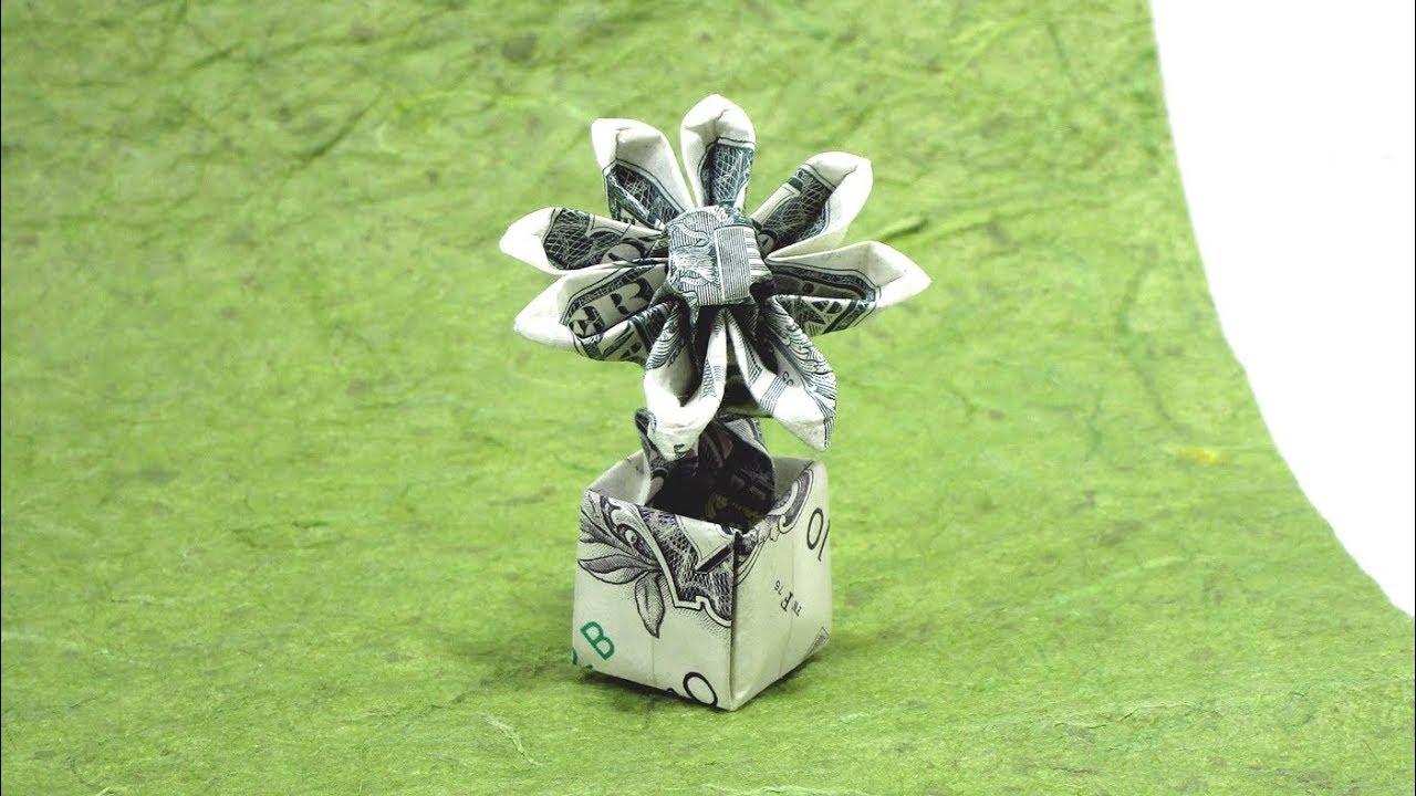 🌻 ORIGAMI DOLLAR BILL FLOWER IN A POT 🌼 TUTORIAL (Herman Lau) 折り紙  ポットの花 Flor money $1 dollar